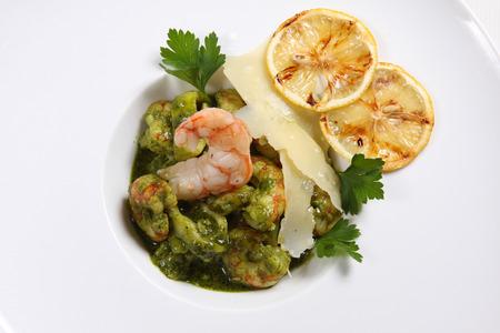 parmezan: Seafood shrimps isolated on white background