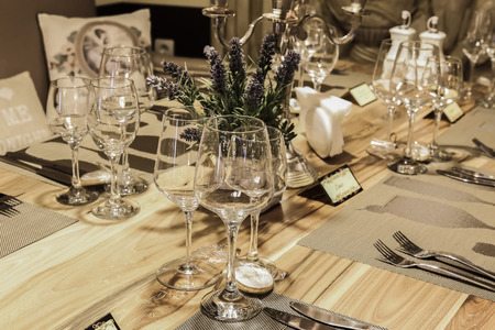 luxuriously: Luxuriously decorated restaurant table for an event