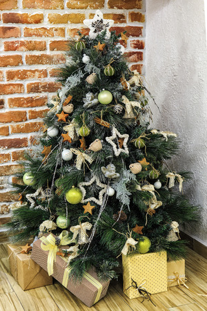 Christmas tree with vintage style decoration