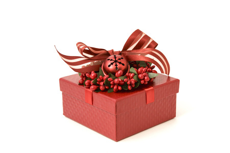 red gift box: Red gift box with ribbon and baubles