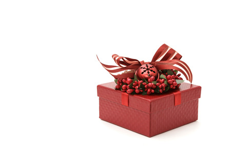 luxurious: Classic luxurious Christmas gift box, isolated Stock Photo