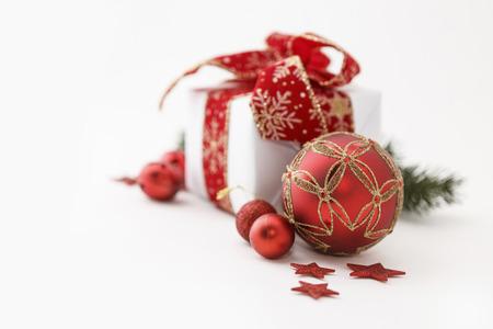 christmas gift box: Closeup of christmas gift box decoration isolated