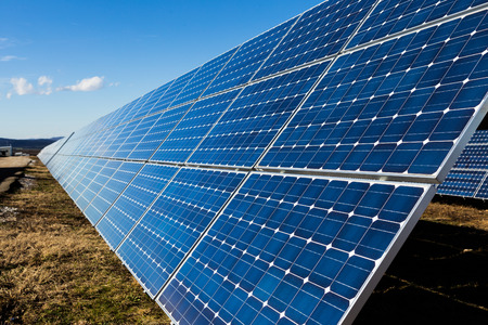 Photovoltaic solar panels in the field photo