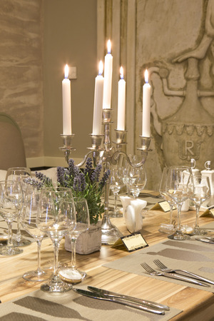 lux: Table arrangement with candles Stock Photo