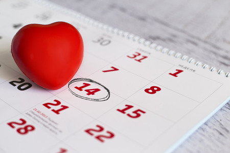 14th: Red heart and 14th february date