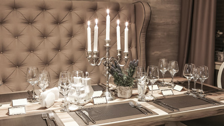 Romantic Restaurant Table With Candles Stock Photo Picture And - Restaurant table candles