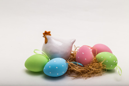 colorfully: Colorfully painted easter eggs and porcelain chicken figure