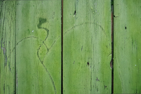 cracky: Closeup of old cracky wooden surface colorfully painted Stock Photo