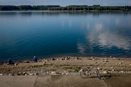 fishermen's: Nature landscape of lake and fishermens bycicle