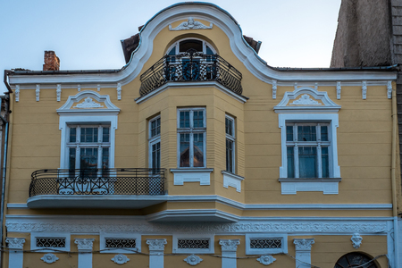 architectonics: Beautiful architecture concept of classic ornamented house facade