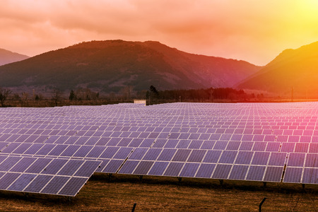 solar panels: Field of solar panel rows in the mountain