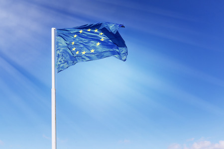 lighted: Wind blown and sun lighted majestic european union flag