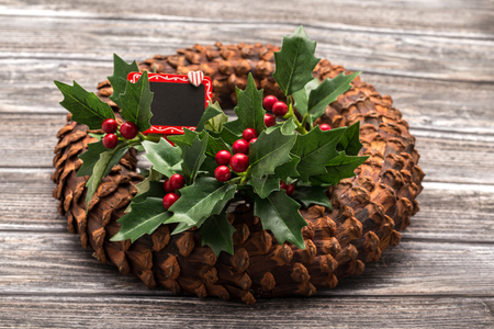 luxurious: Closeup of luxurious decorative wreath on wooden background