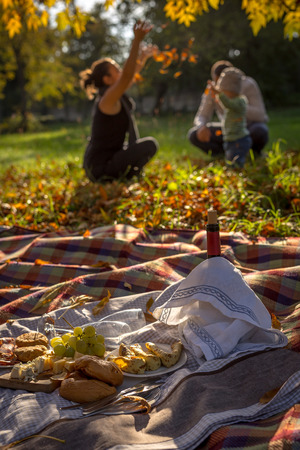 picknick: Idyll romantic scene of served food for picknick and family background Stock Photo
