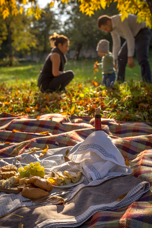 picknick: Picknick food in the nature, mother and father with their little boy playing with fall leaves