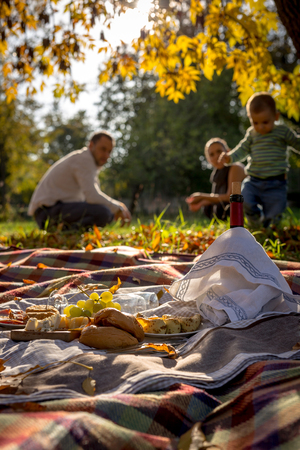 idyll: Idyll composition of picnic food over family background Stock Photo