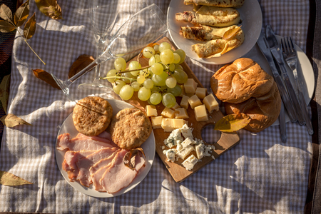 picknick: Closeup of sweet grape, yellow and blue cheese, ham and pancakes served for picnic