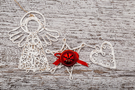 decorative objects: Closeup of christmas decorative objects on white vintage background