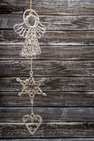 Closeup of hanging white decorative christmas objects Banco de Imagens