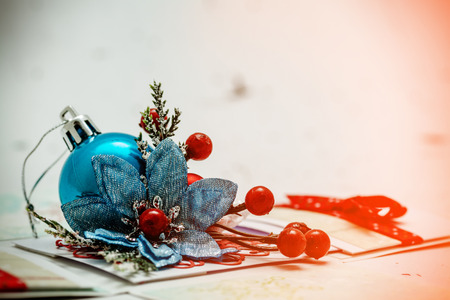 over white background: Luxurious christmas decoration over white background