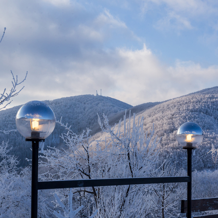 white winter: Winter landscape of hilly scenery covered with white snow Stock Photo