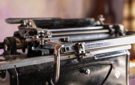 metalic: Cloaseup of metalic writing machine, nostalgia concept Stock Photo