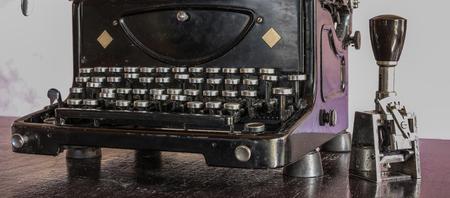 metalic: Closeup of rusty metalic typewriter with keyboard Stock Photo