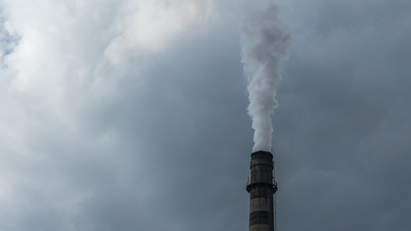 fume: Industrial chimney fume mix in clouds