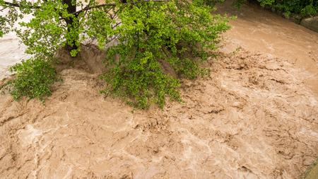 deluge: Closeup of wild turbulent river rapid