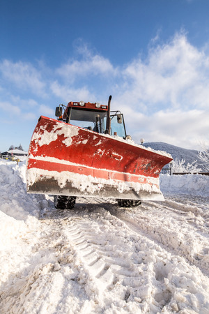 snow plow: Big snow plow machine ready for action