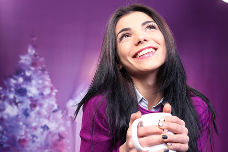 express feelings: Closeup of smiley brunette against colorful background