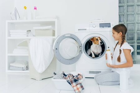 Positive small girl has fun with jack russel terrier, poses on floor near washing machine in laundry room, holds liquid powder, busy with housework, has glad expression. Cozy interior in bathroom