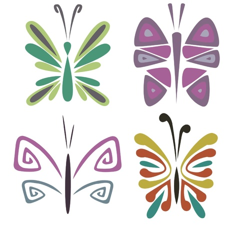 Sketches of bright colourful butterflies