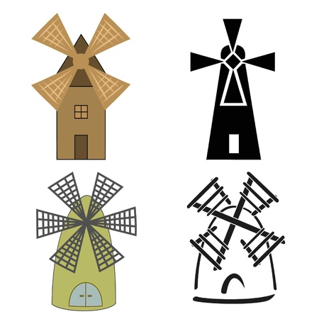 Color and black-and-white logos of windmills Vector