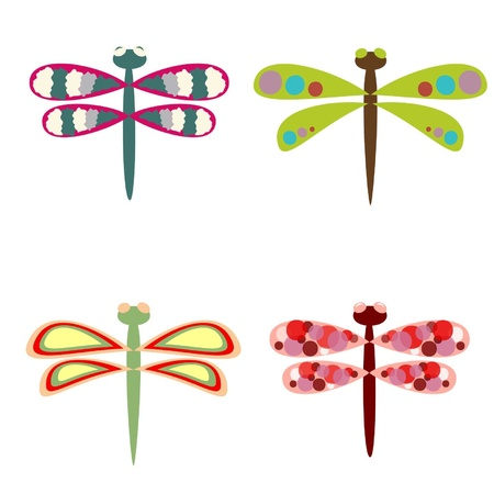 Sketches of bright colourful dragonflies Stock Vector - 12042607