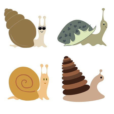 Some kinds of snails with different bowls Vector