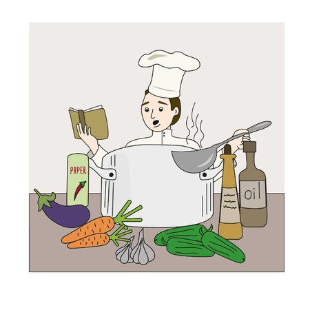 The cook on kitchen tries to prepare under the recipe from the book