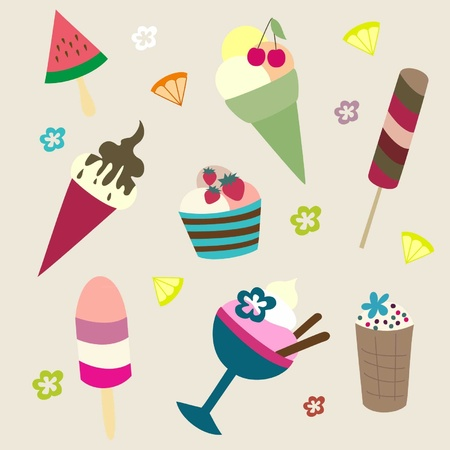 Set of bright different kinds of ice-cream Illustration