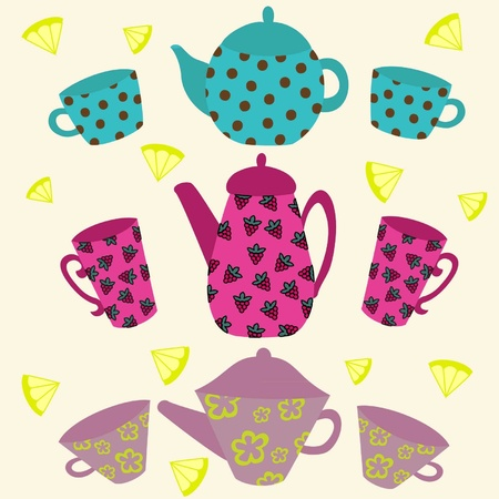 Some versions of color tea sets Illustration