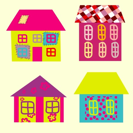 Collection of bright fantastic houses on a light background