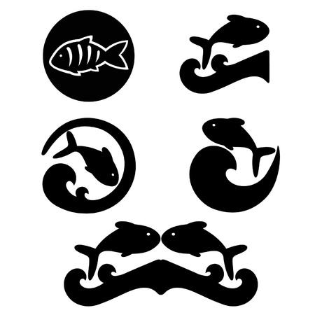 Bocetos de los peces y las olas sobre un fondo blanco