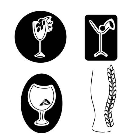 Black-and-white emblems of various kinds of drinks Illustration