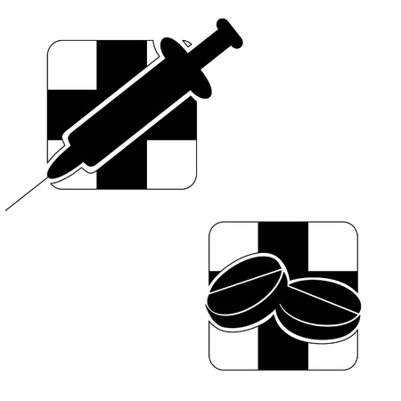 Black-and-white emblems of tablets and syringe on a medical theme Illustration