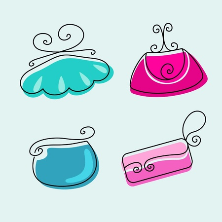 accessibility: Set of female fashionable bright bags on a light background