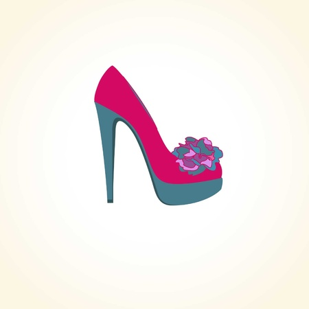 high heel shoe: Female shoe with a flower on a light background
