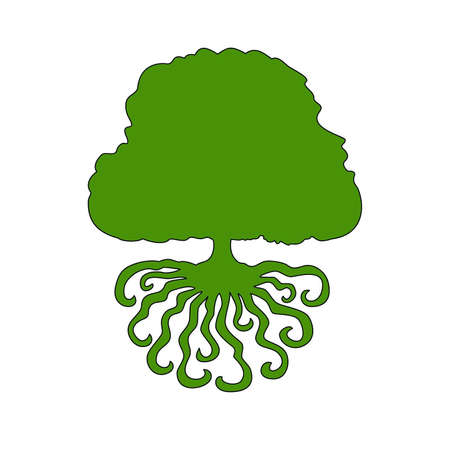 simple silhouette of a green tree with roots on a white background Illustration