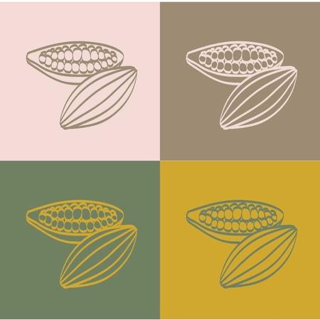 色の背景上ココア豆