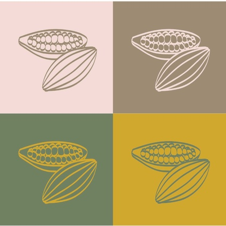 Cocoa beans on a color  background Illustration