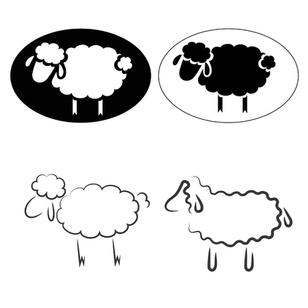 silhouette of sheeps Vector