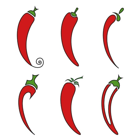 spicy chilli: Hot chilli pepper vector set isolated on white background. Illustration